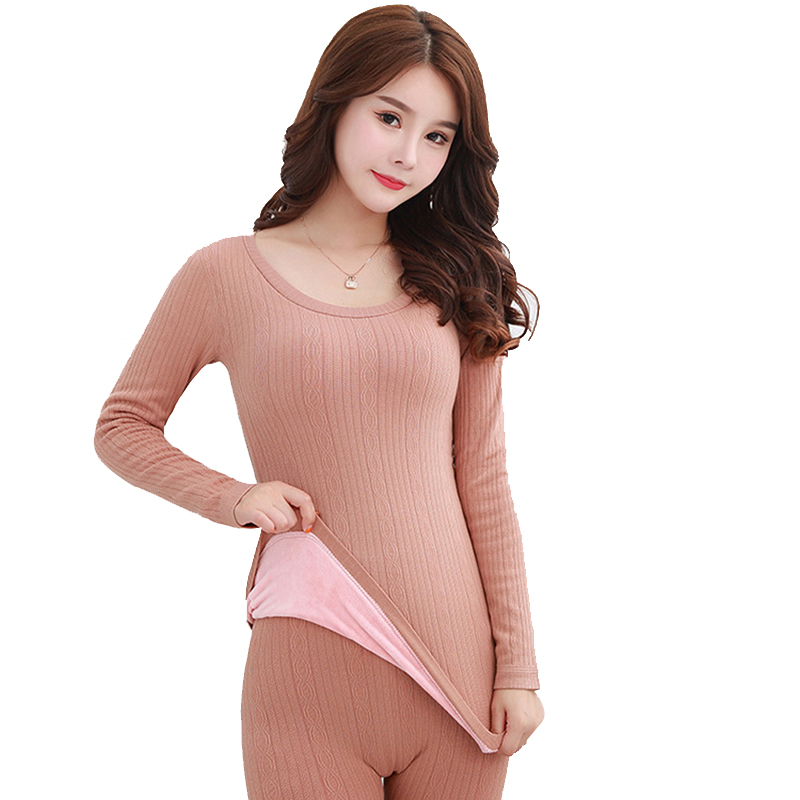 Wool Long John For Winter 2019 Thick Warm Velvet Women's Thermal Underwear Set Eamless Second Female Skin Knitted Thermal Suit