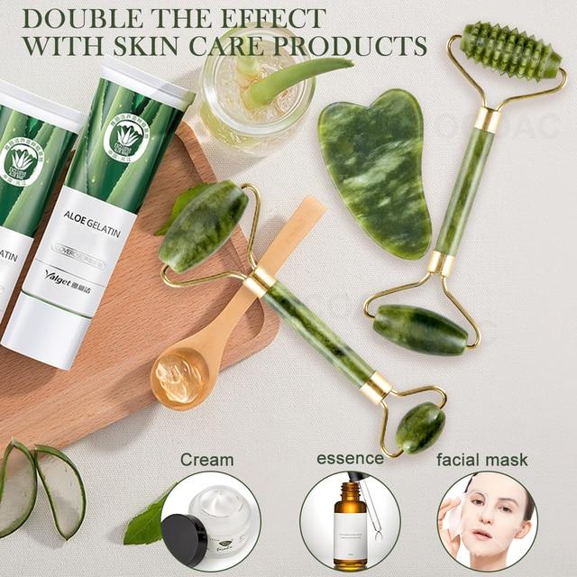 2pc jade pedra rolo de massagem facial para rosto natural massager verde guasha raspador conjunto fino elevador beleza emagrecimento ferramentas rolo 2
