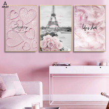 Romantic France Paris Pink Flower Feather Canvas Posters and Prints Girl Scandinavian Love Wall Art Painting Decorative Pictures(China)