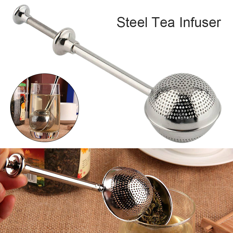 Stainless Steel Spring Loaded Push Style Tea Ball Filter Tea Leaf Herbal Locking Infuser Loose Spice Strainer Teaspoon Filter