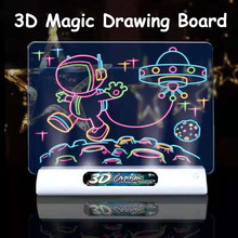 Magic 3D Drawing Board LED Light Effects Puzzle Drawing Pad Kids Painting Educational Toys Children Grow Playmates Creative Gift