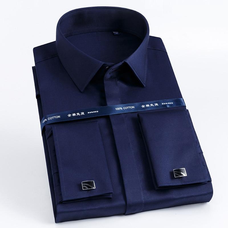 Image 3 - High Quality Men French Cufflinks Shirt Slim Fit Cotton Shirt Men  Long Sleeve Business Suits Wedding Party Free Lroning ShirtsDress  Shirts