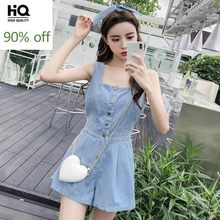 Summer 2020 Women Fashion Sleeveless Overalls Sweet Single Breasted High Waist Denim Wide Leg Jumpsuit Shorts Sexy Rompers XL(China)