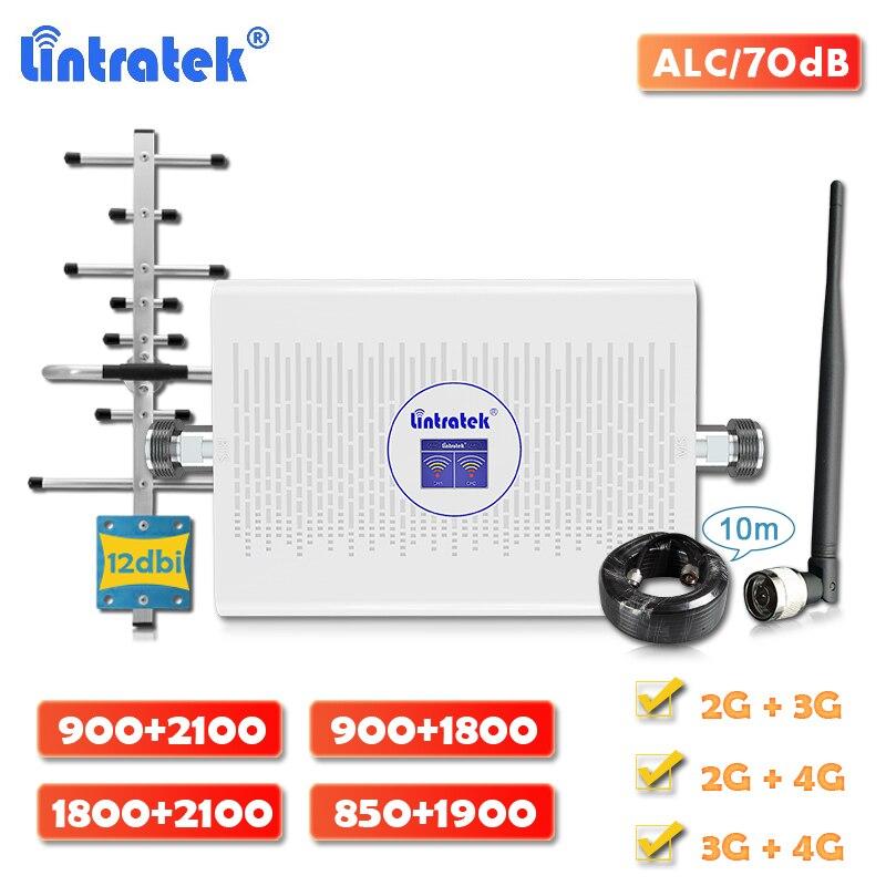 Усилитель сигнала Lintratek, 70dB, двухдиапазонный DCS LTE 1800, 4g, GSM 900, WCDMA 2100, CDMA 850, сотовый ретранслятор, 1900 шт., полный комплект