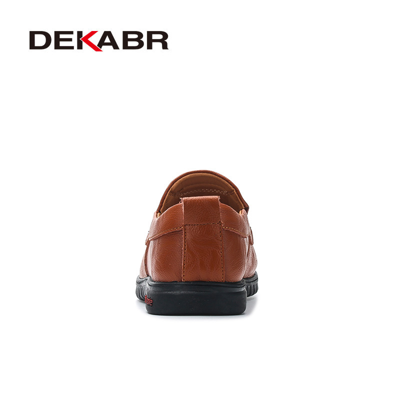 Image 3 - DEKABR Men Shoes Genuine leather Comfortable Men Casual Shoes Footwear Chaussures Flats Men Slip On Lazy Shoes Zapatos HombreMens Casual Shoes   -