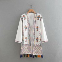 2018 Summer New Style Europe And America WOMEN'S Dress Fashion Pompon Embroidered Joint Loose Fit Coat Tops W1907