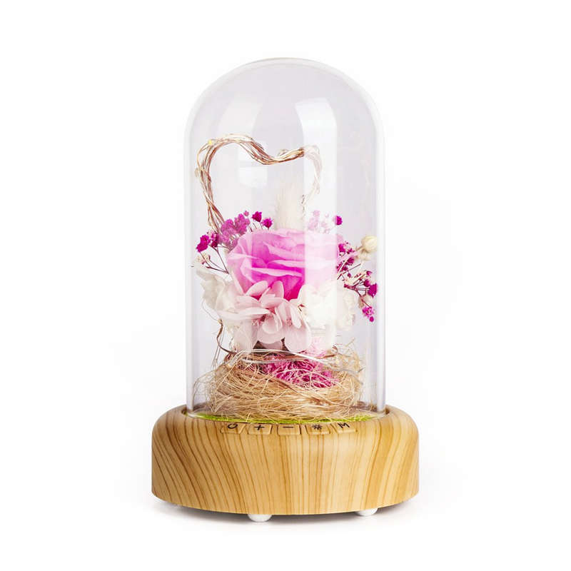 BEAU-Rose Streamer Bottle Led Night Light Rechargeable Wireless Bluetooth Speaker With Flower In Glass Decoration Table Lamp