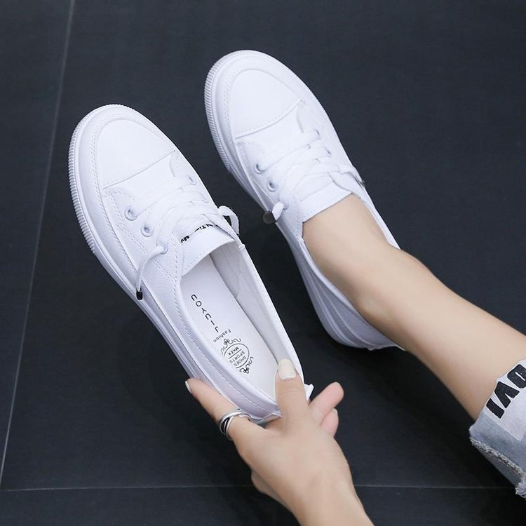 2020 low platform sneakers women shoes female pu leather Walking sneakers Loafers White flat slip on Vacation shoes AB570 2