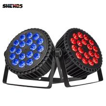 SHEHDS LED plano de aleación de aluminio, luz RGBWA de 18x18W, iluminación de escenario inalámbrica UV DMX 512 para DJ, proyector de Fiesta Disco, club nocturno
