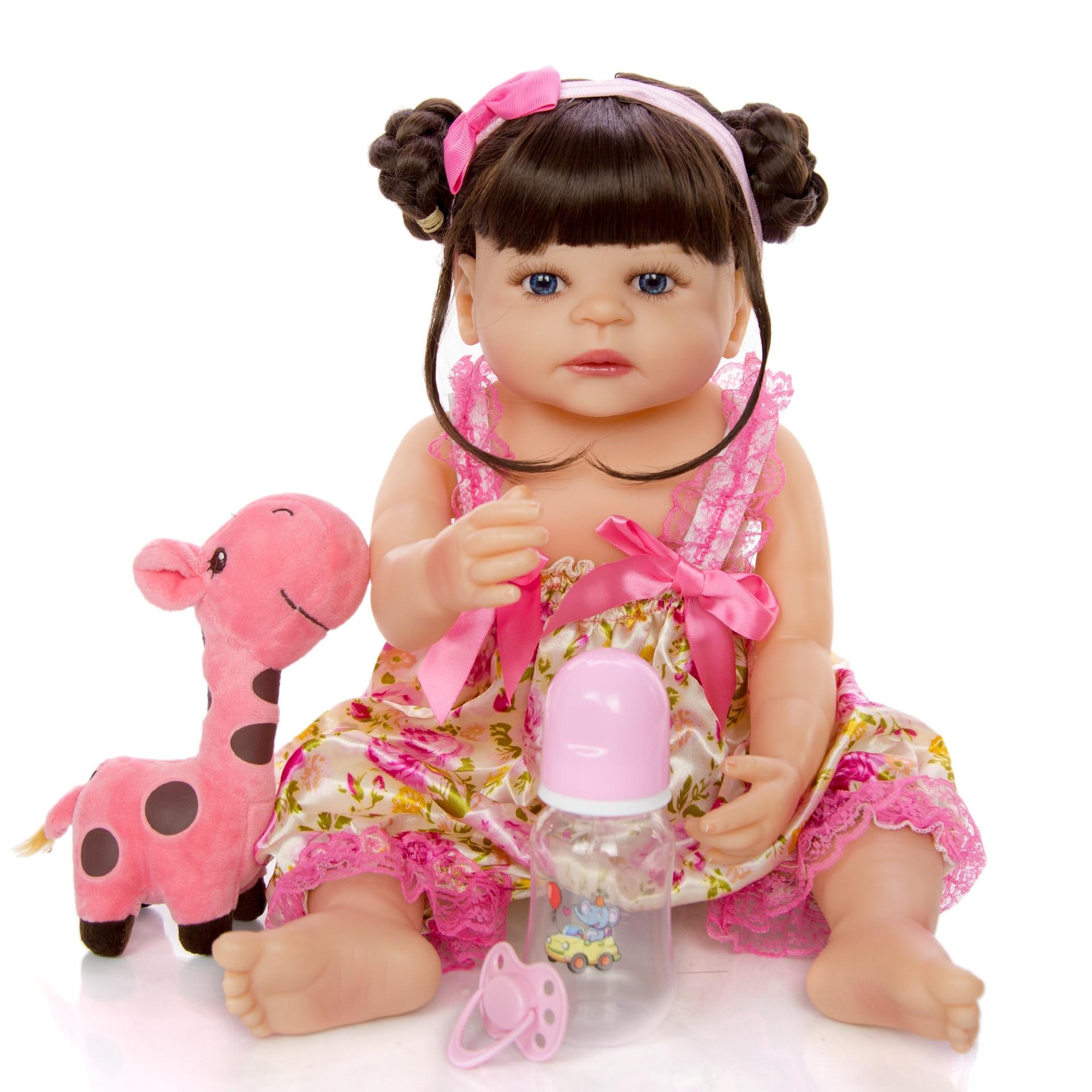 NPK poupée 55CM bebe poupée reborn bambin fille poupée en robe rose corps complet silicone souple réaliste bébé bain jouet imperméable