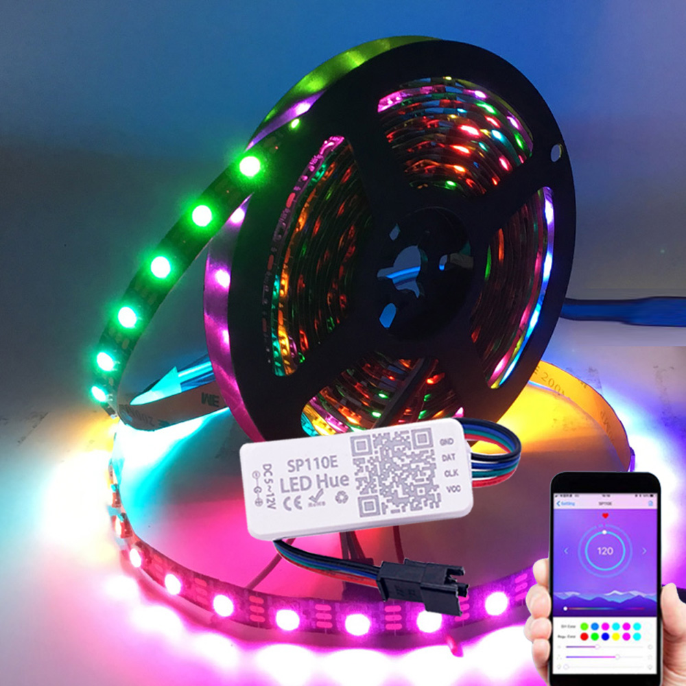 Светодиодная ленсветильник WS2812B WS2812 с Bluetooth-контроллером SP110E, 5 В постоянного тока, комплект для украшения дома, спальни, 1 м/2 м/3 м/4 м/5 м