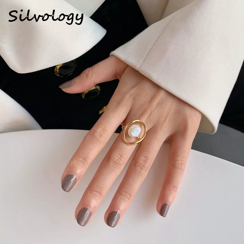 Silvology Natural Freshwater Pearl Rings Original 925 Sterling Silver Irregular Winding Pearl Rings For Women Jewelry Designers