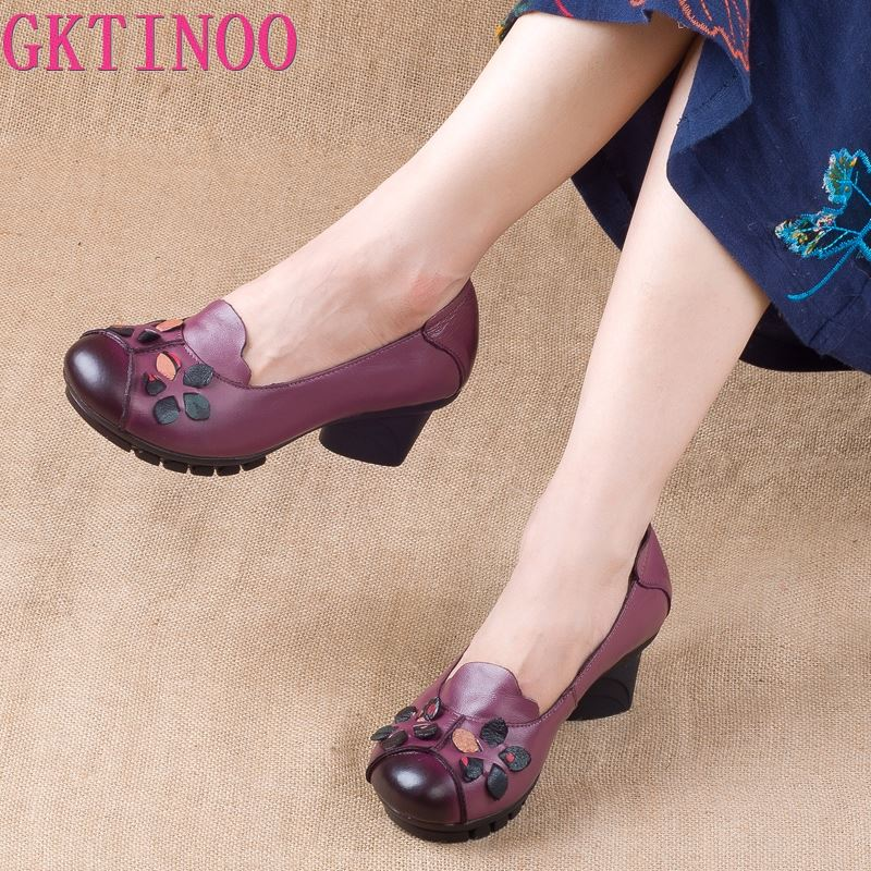 GKTINOO Spring Autumn Shoes Women Genuine Leather Breathable Plaform High Heels Shoes Fashion Flower Classic Women Pumps