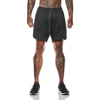 Double layer Jogger Shorts Men 2 in 1 Short Pants Gyms Fitness Built-in pocket Bermuda Quick Dry Beach Shorts Male Sweatpants 2