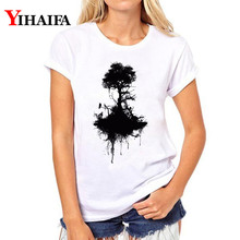 Women T-shirt Black Tree 3D Print T Shirt Lady Short Sleeve White T-shirts Plus Size Harajuku Tops Woman Clothes