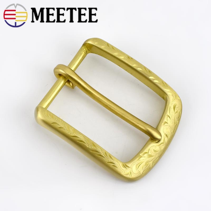 Deepeel 1pc 40mm Brass Belt Buckle Men's Belt Pin Buckles For 38-39mm Belt DIY Hand-carved D Buckle Leather Craft Material BD540