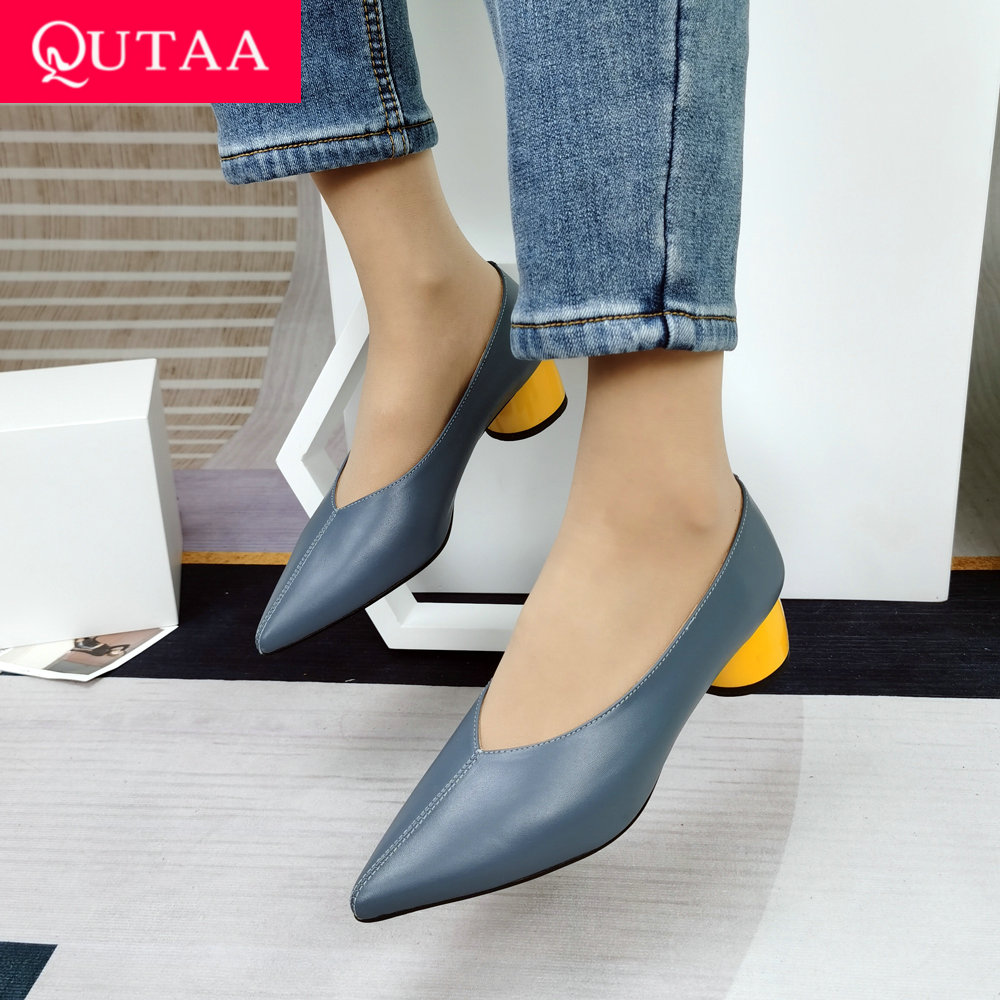 QUTAA 2021 Pointed Toe Soft Genuine Leather Women Pumps Shoes Spring Summer Basic Female Fashion Comfortable Med Heels Size34 43