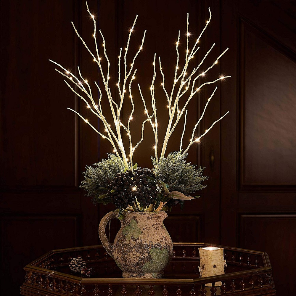 2Pack Lighted Artificial Twig Birch Tree Branch With Fairy Lights 100LED Battery Operated Lighted White Willow Branch For Decora