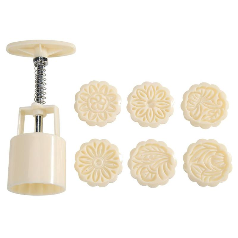 1set Ice Skin Mooncake Dessert Mold White Plastics 6 Patterns DIY Gifts Decor Hand Pressure Kitchen Baking Cutting Accessories