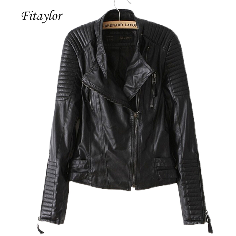 Fitaylor New 2020 Women Pu Leather   Jacket   Fashion Motorcycle Coat Female Rivet Long Sleeve Short Design Stand Collar   Basic   Coat