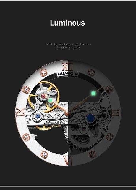 Guanqin luminous  mechanical automatic men watches tourbillon 2019 luxury top brand  men clock waterproof gold relogio masculino