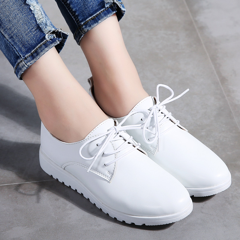 Image 3 - STQ Women Winter Casual Sneakers Shoes Women Wedge Genuine Leather Lace Up Shoes Flats Ballet Shoes Women Chaussure Femme 9935Womens Flats   -