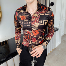 Men Club Prom-Shirts Social Long-Sleeved Slim-Fit Print Shirt/high-End Casual Fashion