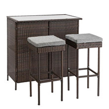 Outdoor 3-Piece Brown Wicker Bar Set Glass Bar and Two Stool