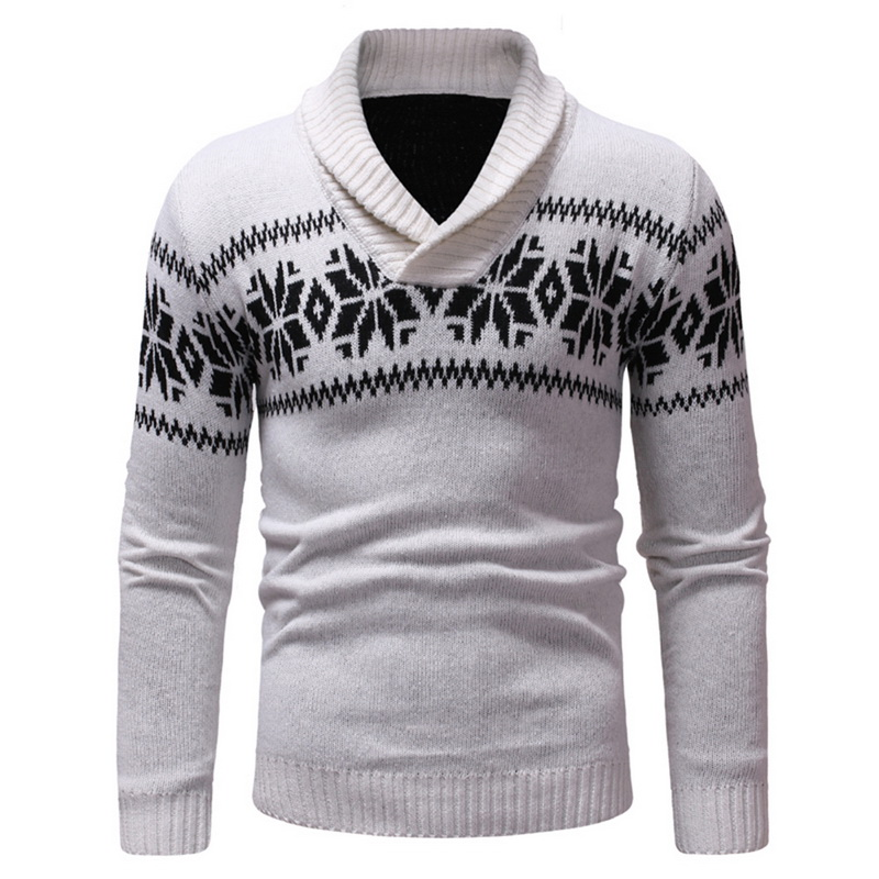 Mens Two Buttons Neck-line Pullover Christmas Sweater Autumn Winter Turndown Collar Casual  Printed Knitted Sweaters