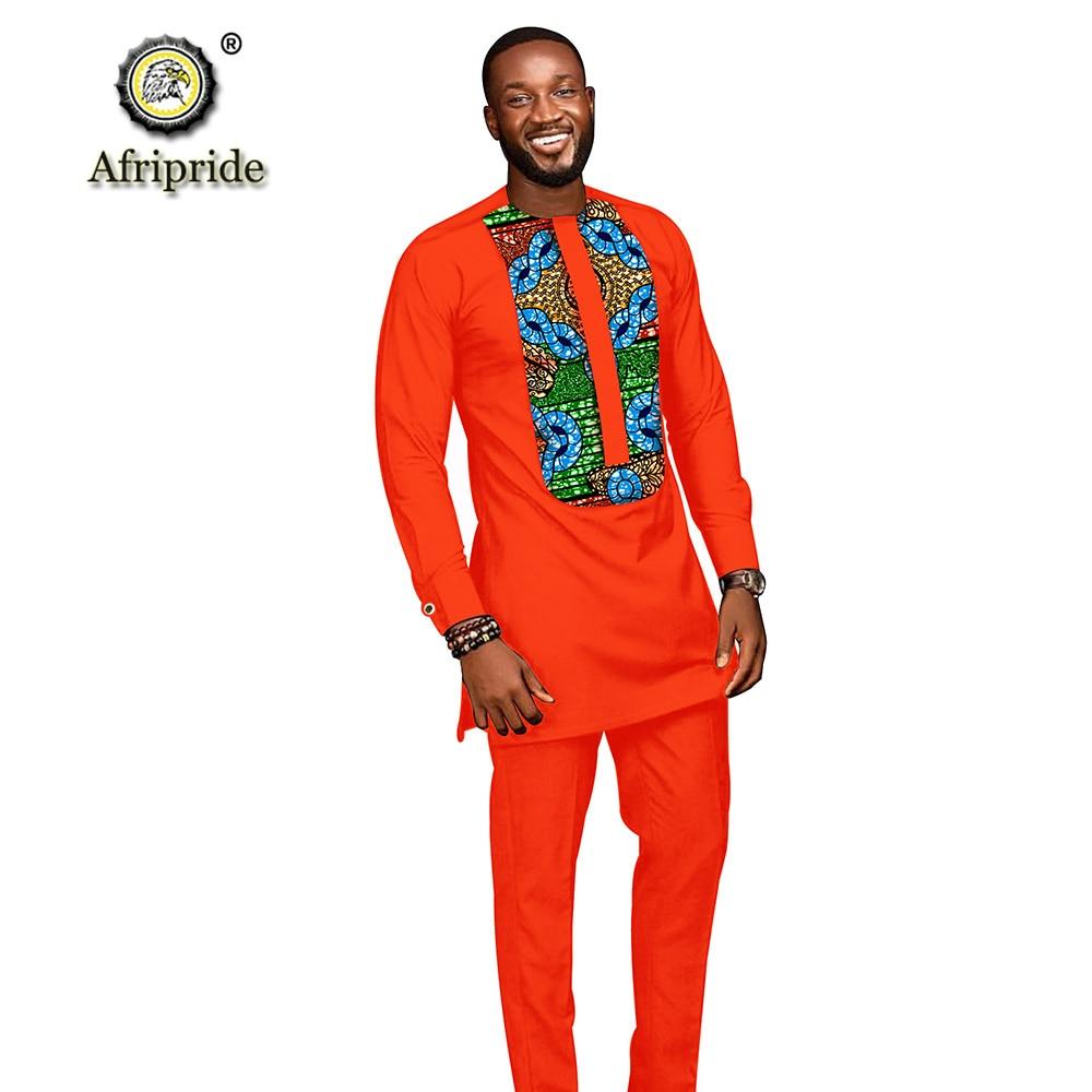 Trajes para hombres africanos 2019 ropa dashiki camisetas con impresión + Pantalones con bolsillos conjunto de 2 piezas blusa atuendo de Ankara AFRIPRIDE S1916005 - 2