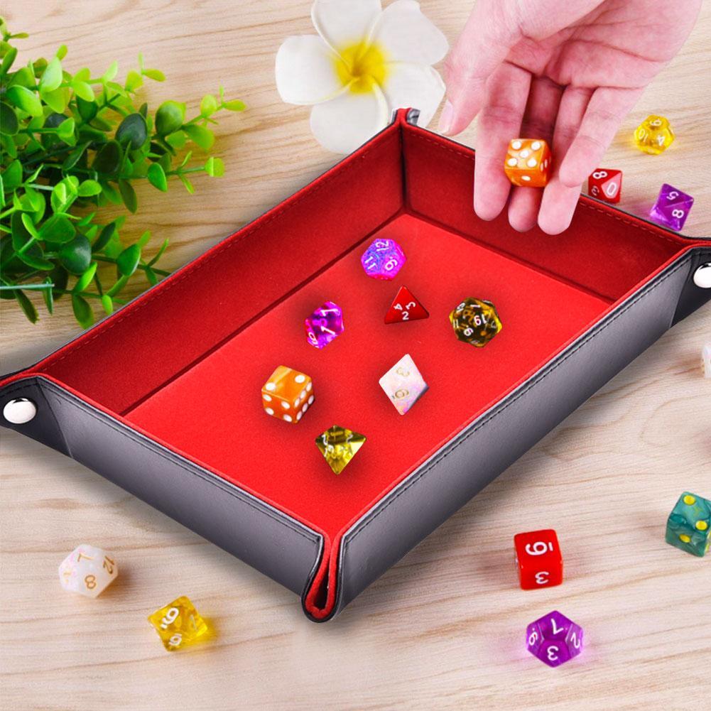 Bandeja para dados de cuero sintético de doble cara, bandeja rectangular plegable, soporte de dados de terciopelo para RPG, DND, ajedrez, otros juegos de mesa y almacenamiento