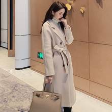 Autumn winter New Women's Casual wool blend trench coat Doub