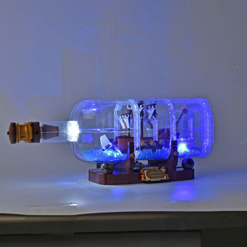 For 21313//16051 Ideas Ship In A Bottle With LED lights Sealed