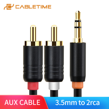 цена на CABLETIME RCA Cable 2rca to 3.5 Audio Cable 2RCA Aux Cable Male to Male Rca 3.5mm Jack For Edifer Home Theater DVD phone C099