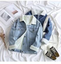 Spring Fur Jean Denim Jacket Women Winter Front Button Flap Pockets Blue Bomber Coat
