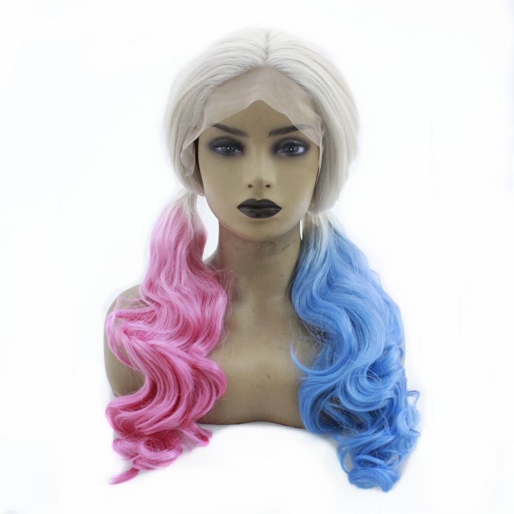 Platinum Blonde Ombre Wigs Half Pink Half Blue Long Body Wave Synthetic Lace Front Wigs For Women Heat Resistant Drag Queen Wigs