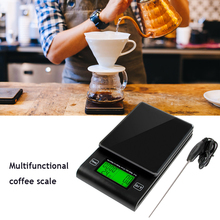 Multifunctional Hand Electronic LCD Display Coffee Scale with Timer Temperature Probe Digital Drip Kitchen Scale 1000-2000g /1G
