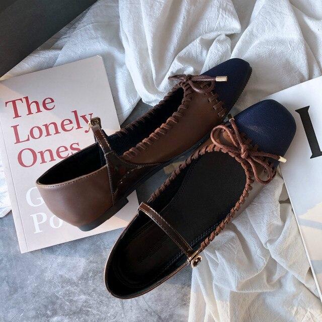 SWYIVY ผู้หญิงรองเท้าแบนสุภาพสตรีบัลเล่ต์ Mary Janes สบายๆฤดูใบไม้ผลิหญิงเดี่ยวรองเท้า SLIP ON รองเท้าผู้หญิงตื้น loafers 40
