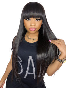 Allove Wigs Fringe-Wig Bangs Highlight Blonde Human-Hair Brown Glueless Straight Full-Machine