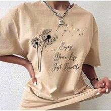 sunfiz Summer Wildflower Dandelion Print Vogue Women T-shirt Simple Casual Fun Yellow T Shirt Gift For Lady Yong Girl T shirt