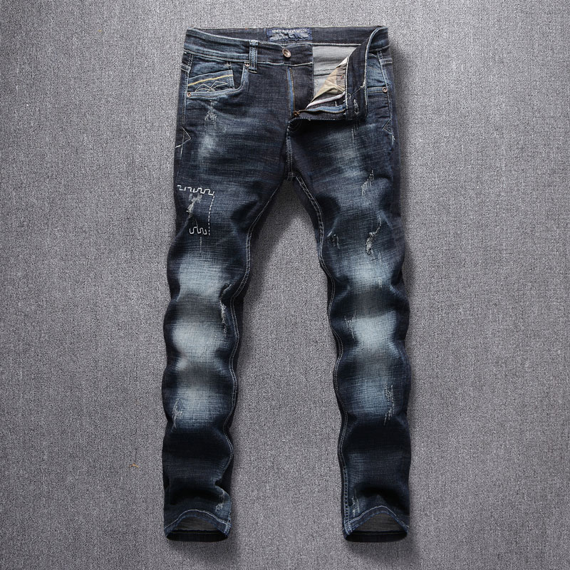 New Style Designer Men Jeans Fashion Streetwear Blue Color Slim Fit Buttons Classical Jeans Men Pants