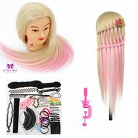 Hair Head Corn Iron Colorful Type Mannequin Synthetic 24inch Hairdressing Training Head Hair +table Clamp Beige Pink Doll