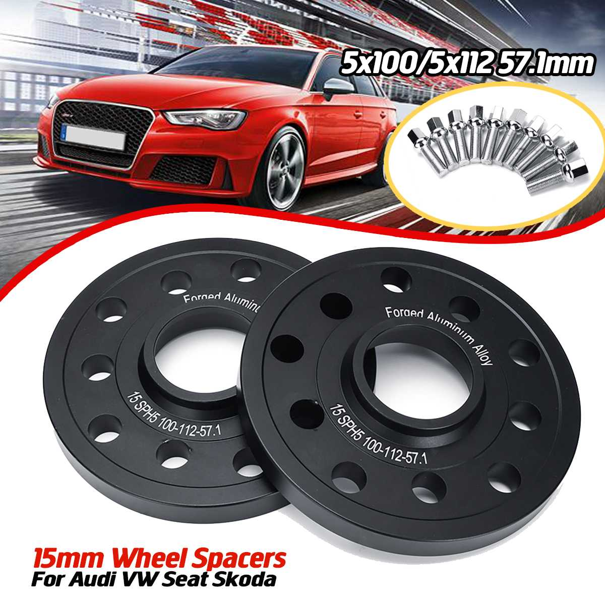 2 X 8mm ALLOY WHEEL SPACERS SHIMS M14x1.5 SILVER BOLTS FOR AUDI 5X112