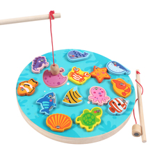 Kids Wooden digital magnetic Fishing Game 3D Puzzle Educational toys for children childrens games Fish toy Magnet Toy