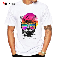 Mens Womens T-Shirt Funny Cat 3D Print Animal Graphic Tees Casual Tee Shirts O-Neck Short Sleeve Unisex White Tops