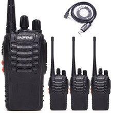 BF888S BF 888S Baofeng Walkie Talkie UHF Rádio Em Dois Sentidos Handheld Rádio 888S Comunicador Transmissor Transceptor + 4 Fones de Ouvido