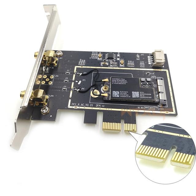 Broadcom BCM94360CS2 to Desktop PCIe Wireless Bluetooth Adapter Dual Band wifi card 1X 2pcs 6DBi antenna for Hackintosh/mac os