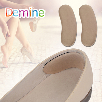 Demine Sponge Invisible Back Heel Pads High Heel Shoes Wear-resistant Sticky Fabric Foot Care Cushion Insert Pads Shoes Cushion 1 pair high quality sponge invisible back soft heel pads for high heel shoes grip adhesive liner cushion insert pads insoles ht3
