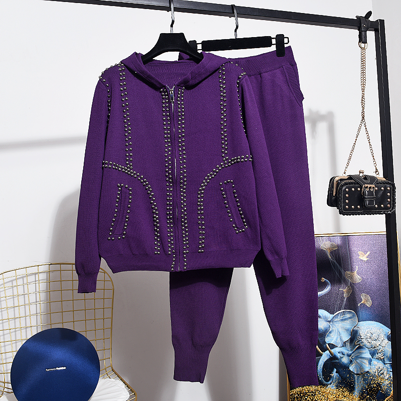 Fashion Spring Autumn Knit Tracksuit Women Set Loose Beading Hooded Knitted Cardigan Long Pencil Pants Female Two Piece Outfits