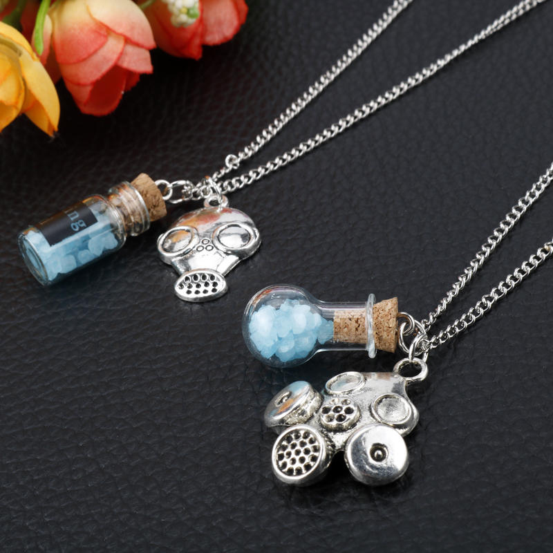 TV Series Jewelry Breaking Bad Necklace Heisenberg Walter White Cork Bottle Charms Necklaces Gas Mask Pendant Choker image
